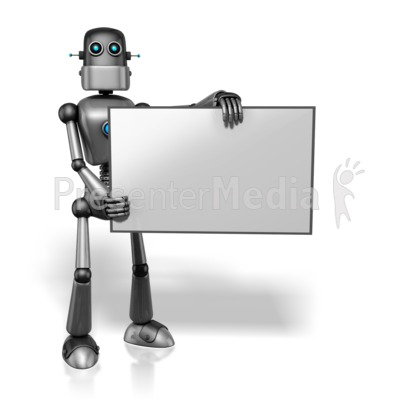 Retro Robot Holding Sign Right Presentation clipart