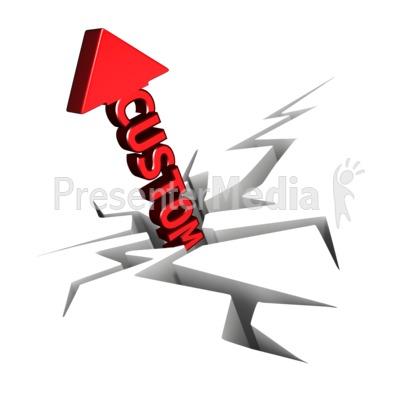 Custom Text Arrow With Crack Presentation clipart