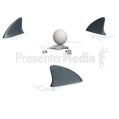 Figure Surrounded By Sharks Presentation clipart