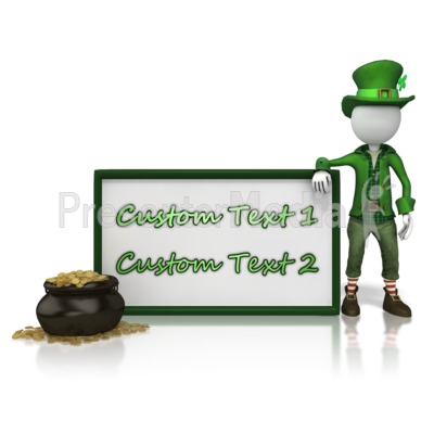 Leprechan With Custom Text Sign Presentation clipart
