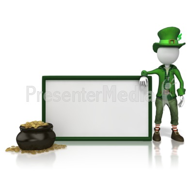 Leprechan With Sign Presentation clipart