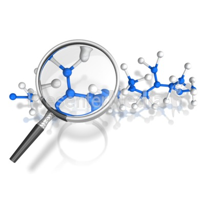 Magnify Glass Examine Molecules Presentation clipart