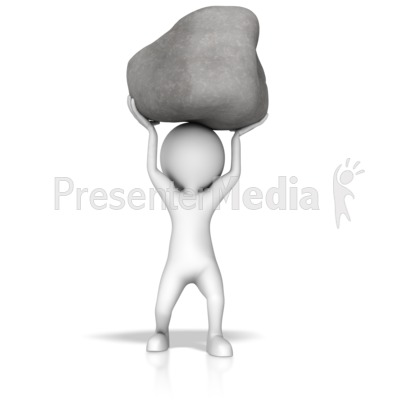 Stick Figure Lift Rock Presentation clipart