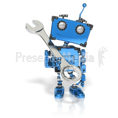 Boxy Robot Hold Wrench Presentation clipart