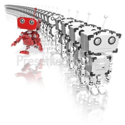 Robot Running From Line Presentation clipart