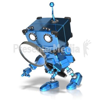 Boxy Robot Searching Presentation clipart