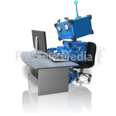 Robot Working At Desk Presentation clipart