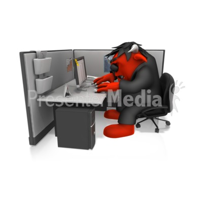 Monster Working In Cubical Presentation clipart