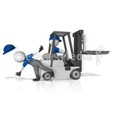 Forklift Hit Worker Presentation clipart