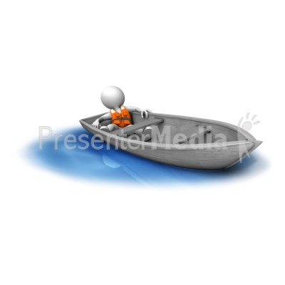 Figure Adrift In Small Boat Presentation clipart