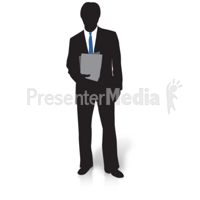 Businessman Silhouette Files Presentation clipart