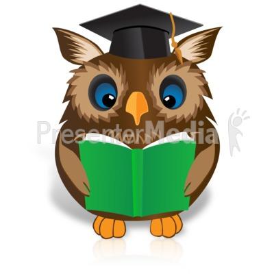 Smart Owl Reading Book Presentation clipart