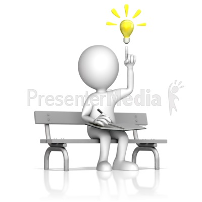 Creative Thinking On A Park Bench Presentation clipart