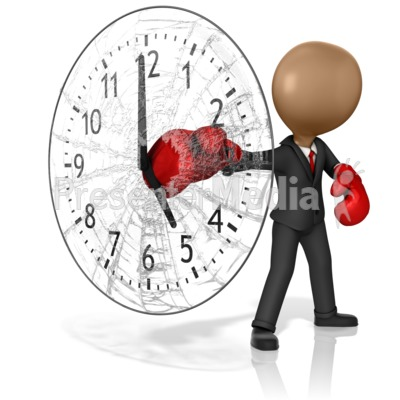 Business Boxer Punching Out Clock Presentation clipart