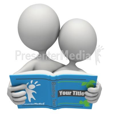 Stick Figures Reading Custom Book Presentation clipart