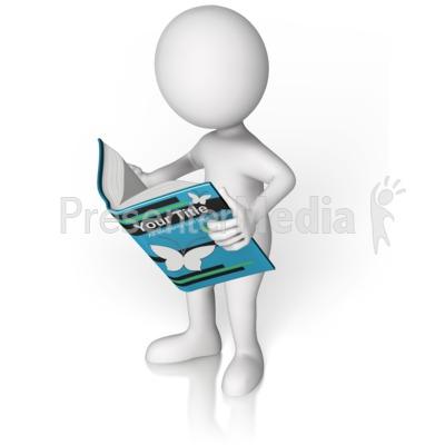 Figure Holding Custom Book Reading Presentation clipart