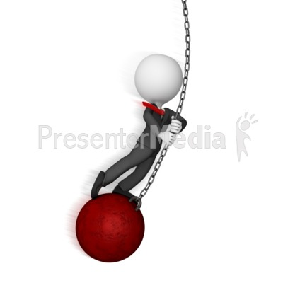 Business Figure Swings on Wrecking Ball Presentation clipart