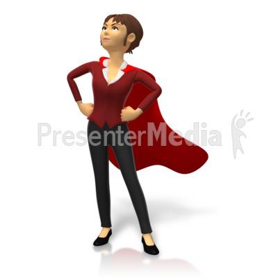 Businesswoman Superhero Pose Presentation clipart