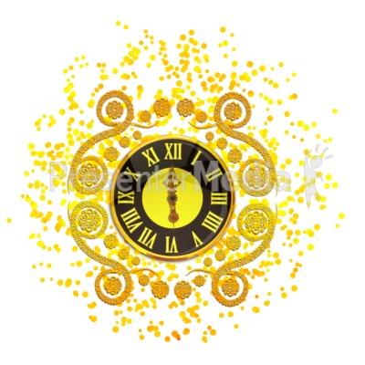 New Years Elegant Clock Presentation clipart