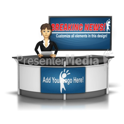 Female News Caster In front of Screen Presentation clipart