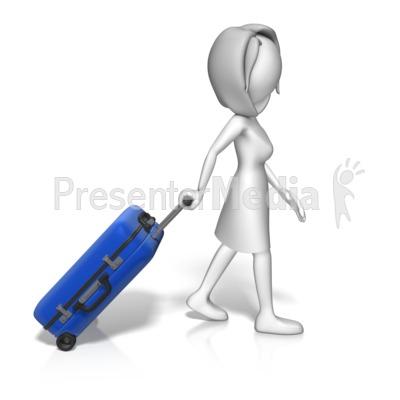 Single Woman Roll Luggage Presentation clipart