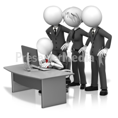 Big Bosses Hovering Over Employee Presentation clipart