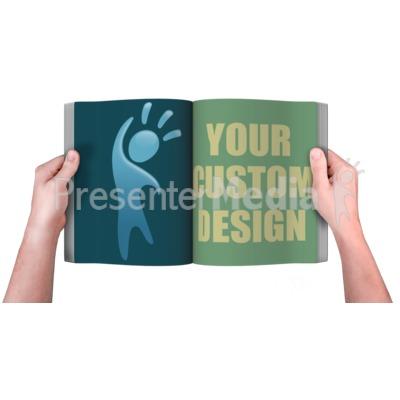 Hands Holding Book Custom Presentation clipart