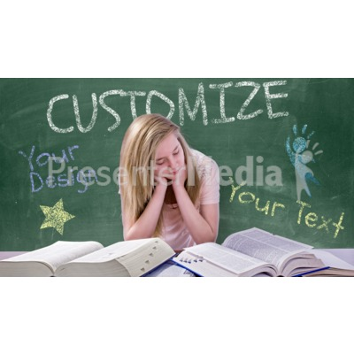Teen Girl Study Chalkboard Custom Presentation clipart