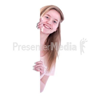 Teen Girl Behind Blank Wall Presentation clipart