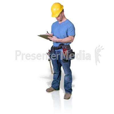 Construction Man Write Clipboard Presentation clipart