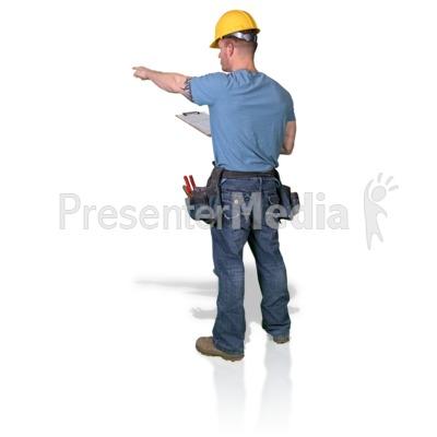 Construction Man Clipboard Point Presentation clipart