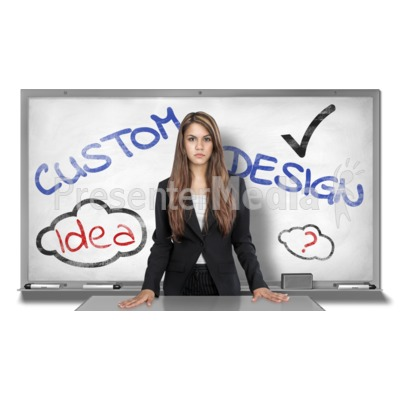 Young Woman White Board Custom Presentation clipart