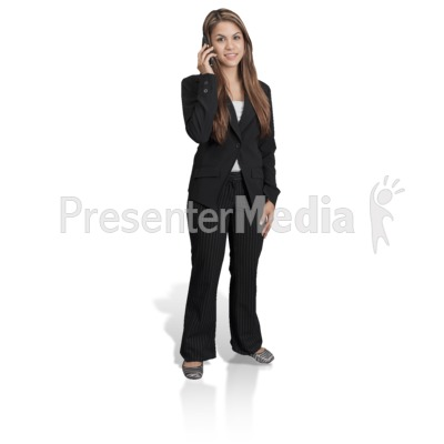 Young Girl Professional Phone Presentation clipart