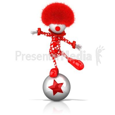 Clown Balancing on Ball Presentation clipart