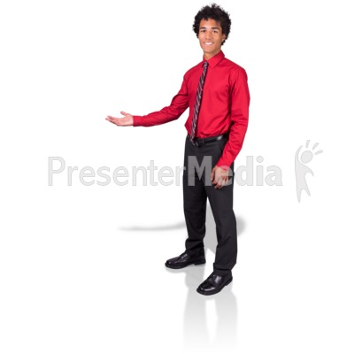 Young Man Gesture Side Presentation clipart