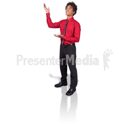 Young Man Gesturing Upward Presentation clipart