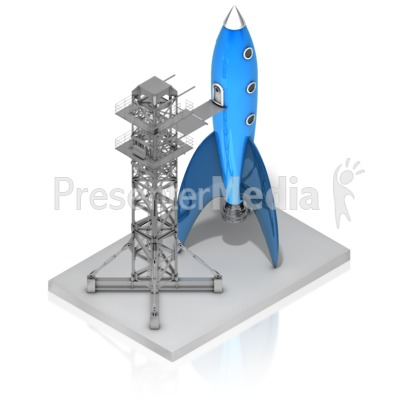 Rocket On Launch Pad Presentation clipart