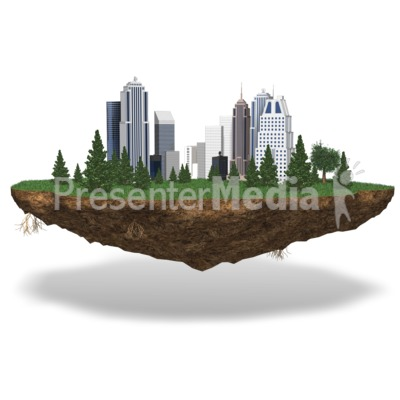 City On Chunk Of Land Presentation clipart