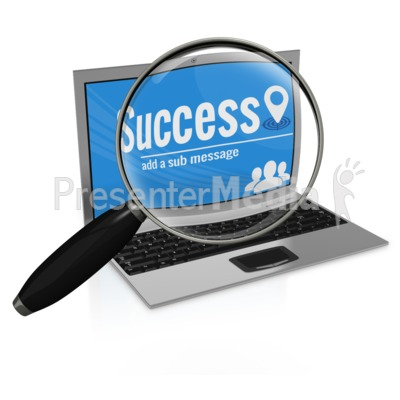 Magnifying Glass on  Laptop Presentation clipart