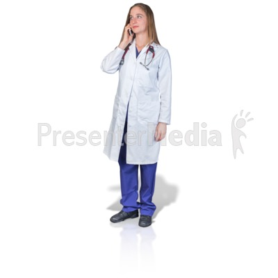 Female Doctor or Nurse Talking Phone Presentation clipart