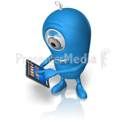 Character Holding Tablet Presentation clipart