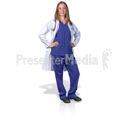 Female Doctor or Nurse Pose Presentation clipart