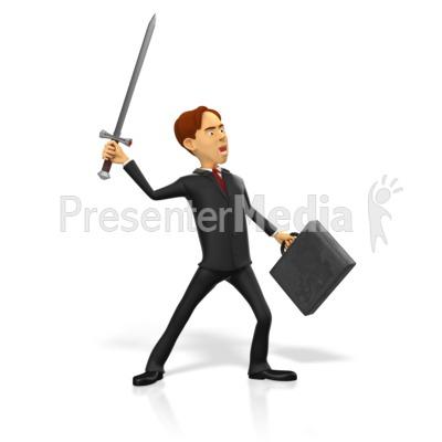 Businessman Raise Sword Presentation clipart