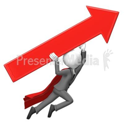Businessman Fly Arrow Presentation clipart