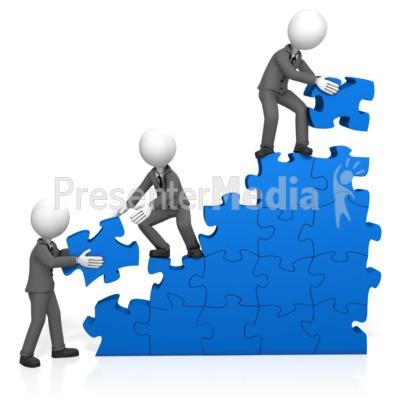 Businessmen Build Puzzle Stairs Presentation clipart
