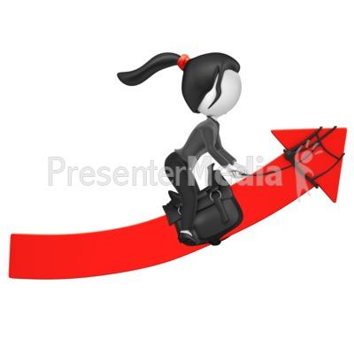 Businesswoman Figure Riding Up Arrow Presentation clipart