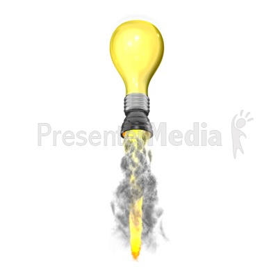 Light Blub Idea Rocket Presentation clipart