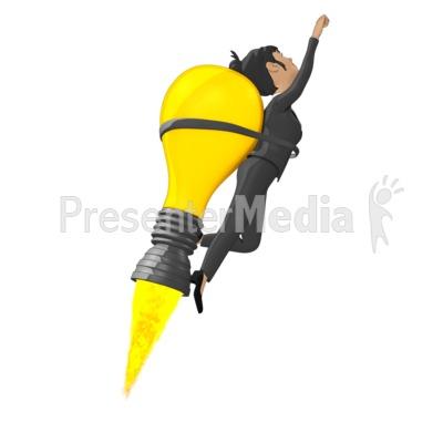 Businesswoman Flying On Idea Lightbulb Presentation clipart