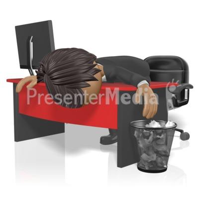 Businessman Slump Desk Presentation clipart