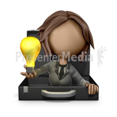 Businesswoman Reveal Light Bulb Idea Presentation clipart